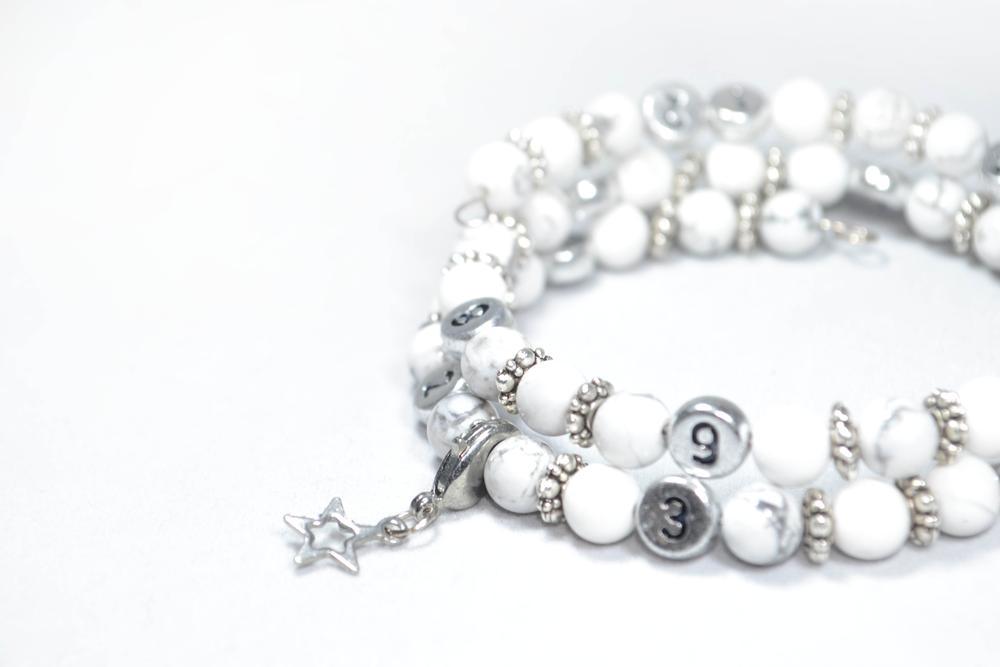 Bracelet d'Allaitement – turquoise blanche